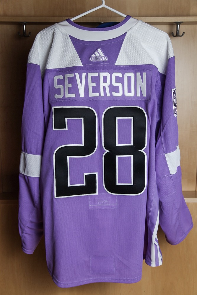 innovative design 0f702 ad96a Damon Severson Hockey Fights Cancer Autographed Lavender ...