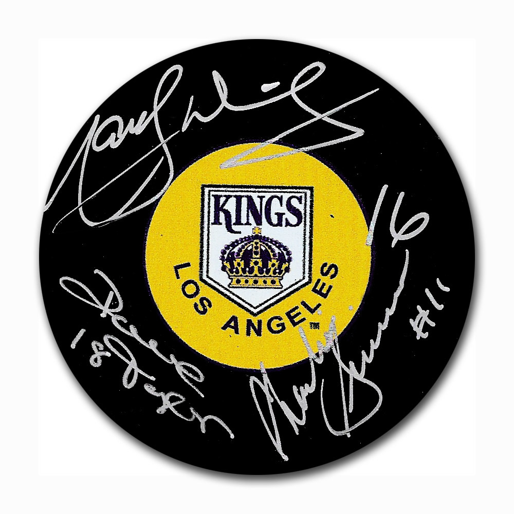 Triple Crown Line Autographed Los Angeles Kings Puck - Dionne, Simmer, Taylor