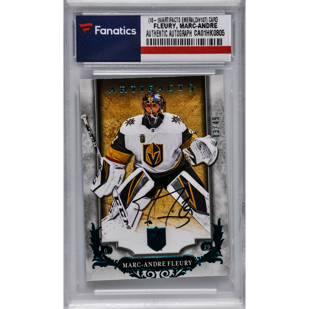Marc-Andre Fleury Vegas Golden Knights Autographed 2018-19 Upper Deck Artifacts Emerald Parallel #107 Card - #3 of a Limited Edition of 45