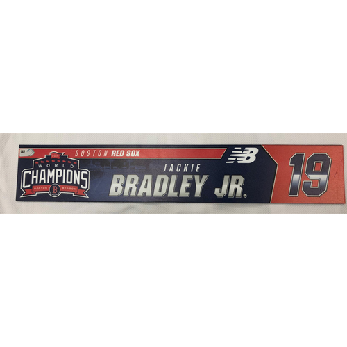 Photo of Jackie Bradley Jr Game Used April 28, 2019 Locker Tag
