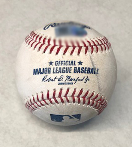 Photo of Game-Used Baseball -- Jared Hughes to Javier Baez, 13th Home Run, Bot 8 -- Reds vs. Cubs -- 5/26/19