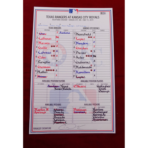 Photo of Game-Used Line-Up Card - Texas Rangers at Kansas City Royals - 5/15/19