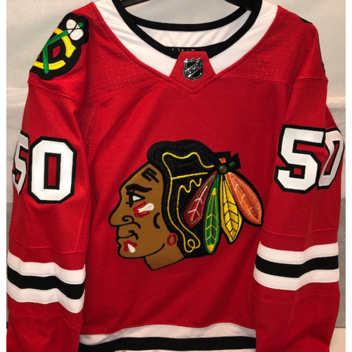 Photo of Jim Thome Blackhawks Jersey Autographed by Corey Crawford