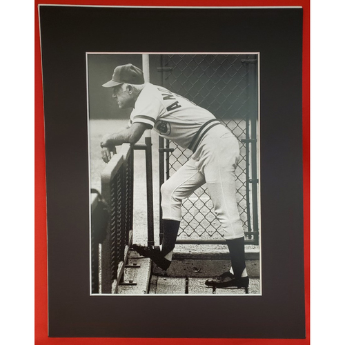 Photo of Sparky Anderson Matted Print 11x14 (Leaning in Black and White)