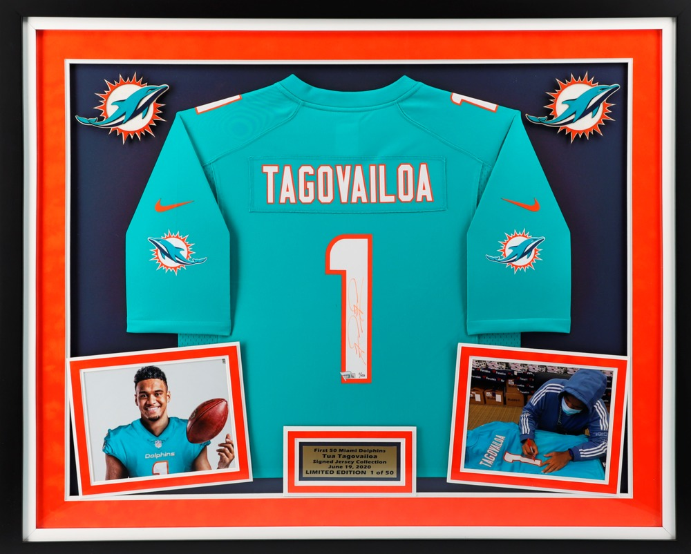 Tua's First Jersey - The First Miami Dolphins Jersey Ever Signed By Tua Tagovailoa. Beautifully Framed And Matted With A Certificate Of Authenticity. Special Edition # 1/50