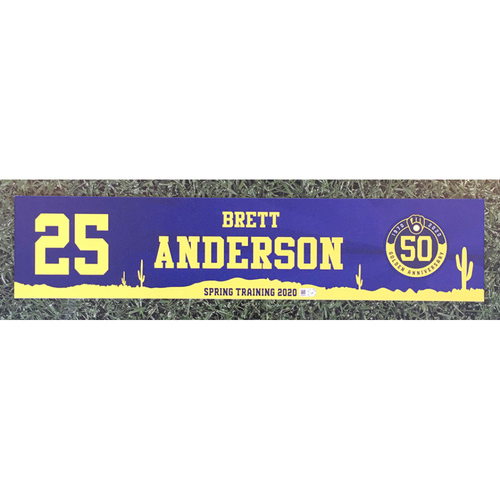 Photo of Brett Anderson 2020 Team-Issued Spring Training Locker Nameplate