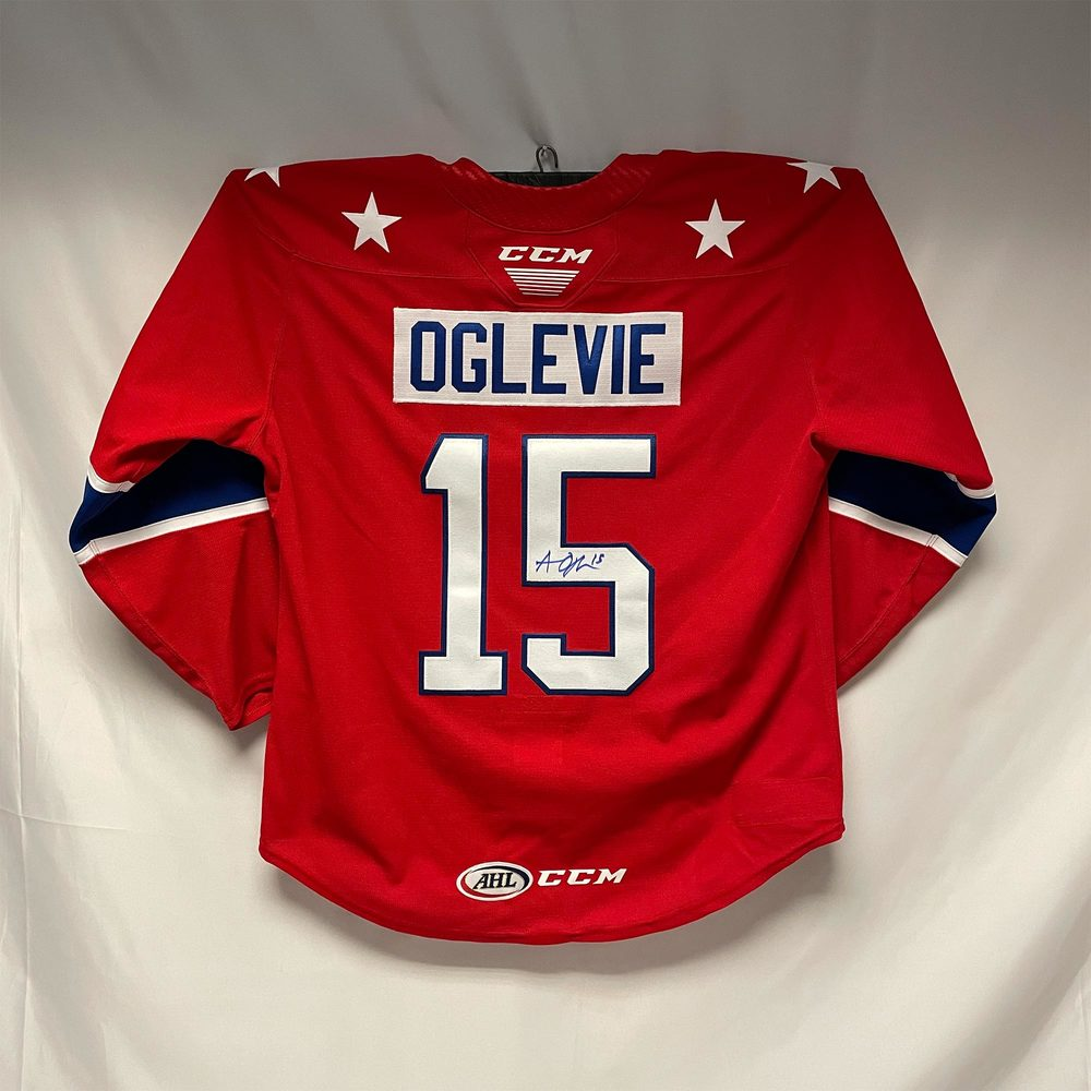 2020-21 Rochester Americans Third Jersey Worn and Signed by #15 Andrew Oglevie