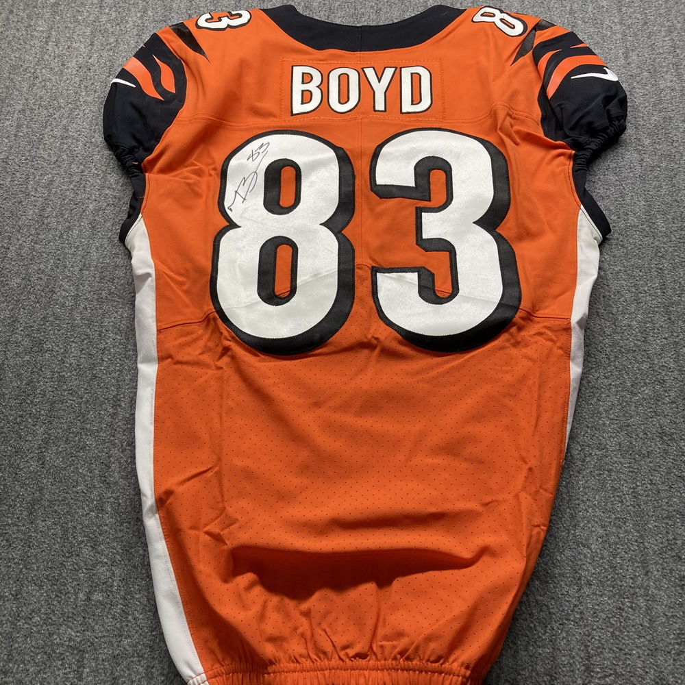 STS - Bengals Tyler Boyd Signed Game Issued Jersey Size 42 with 50th Anniversary Patch
