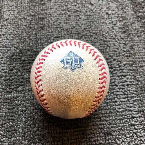 Photo of 2018 San Francisco Giants - Game-Used Ball - 60th Anniversary - Andrew Suarez Strikes Out Kyle Hendricks on a Foul Bunt on 7/9/18