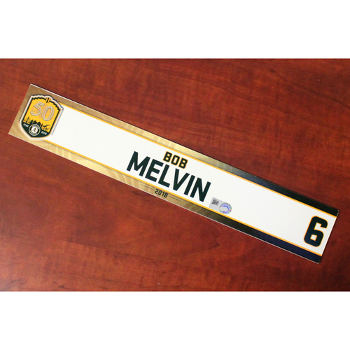 Photo of Bob Melvin 2018 Team-Issued Locker Nameplate