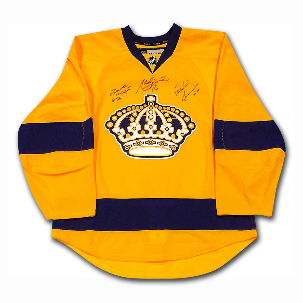 Triple Crown Line Autographed Los Angeles Kings Pro Jersey - Dionne, Simmer, Taylor