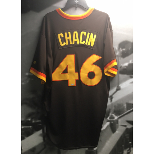 Photo of Jhoulys Chacin Game-Used 1983 Padres Throwback Jersey - 7/9/2017