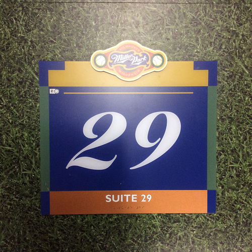 "Photo of Miller Park Team-Issued Sign - ""Suite 29"""