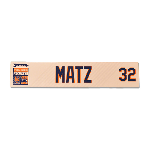 Photo of Steven Matz #32 - Team Issued 2017 Spring Training Locker Nameplate - 2017 Spring Training