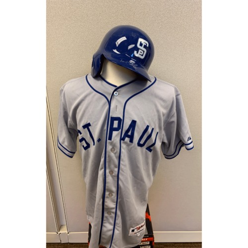 Photo of Minnesota Twins - Pedro Florimon 1948 St. Paul Saints Jersey and Helmet