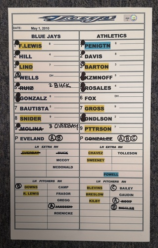 Photo of Authenticated Game Used Lineup Card - May 1, 2010 vs OAK: Josh Donaldson recorded his 1st MLB Hit and Home Run