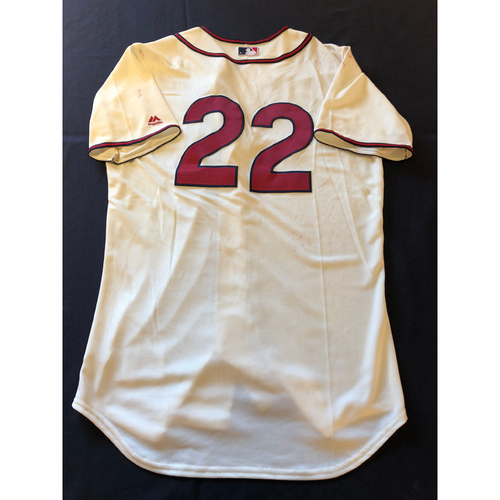 Photo of Derek Dietrich -- Game-Used 1935 Throwback Jersey (Pinch Hitter) -- Rangers vs. Reds on June 15, 2019 -- Jersey Size 44