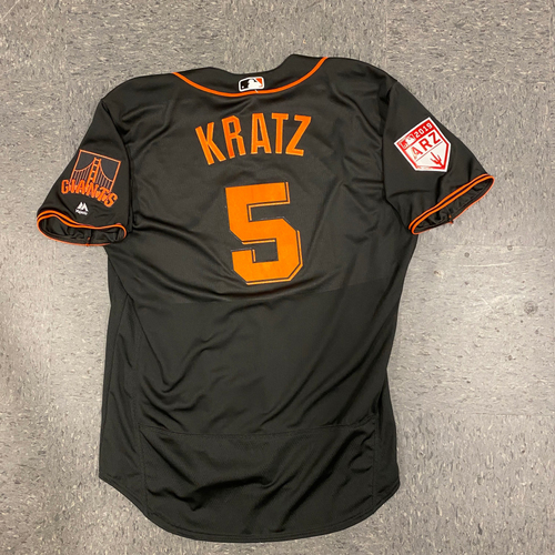 Photo of 2019 Game Used Spring Training Jersey worn by #5 Erik Kratz on 3/26 vs. Oakland A's - Size 50
