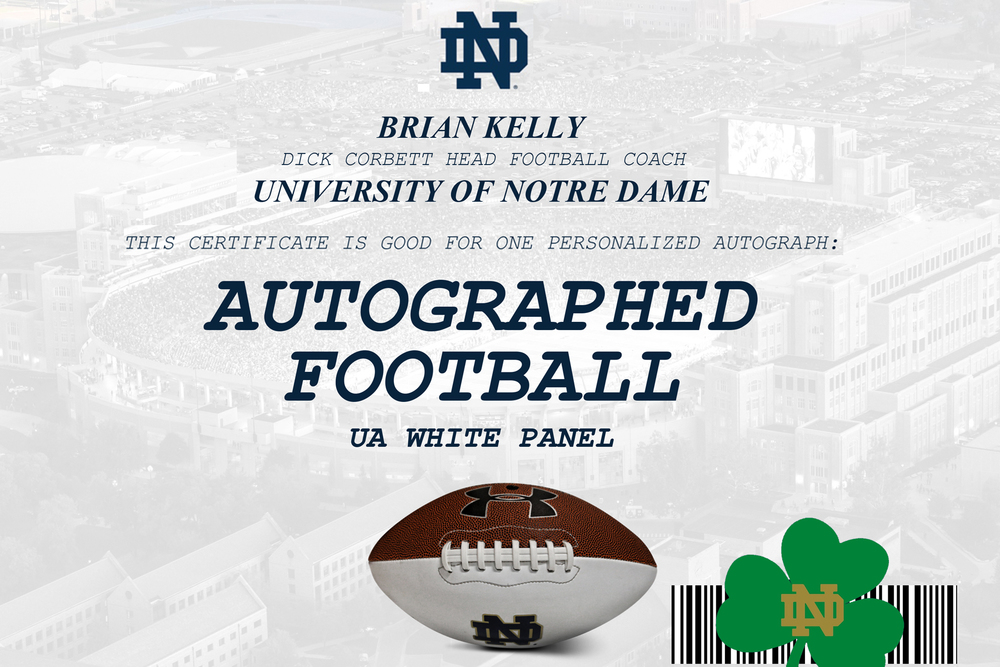 LIONS - NOTRE DAME HEAD COACH BRIAN KELLY SIGNED PANEL BALL