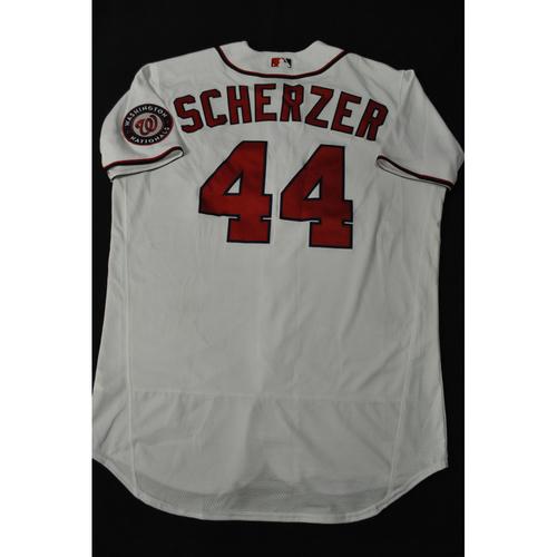 Photo of Hank Aaron Chasing the Dream Foundation: Max Scherzer 2021 MLB All-Star Workout Day BP-Worn # 44 Jersey