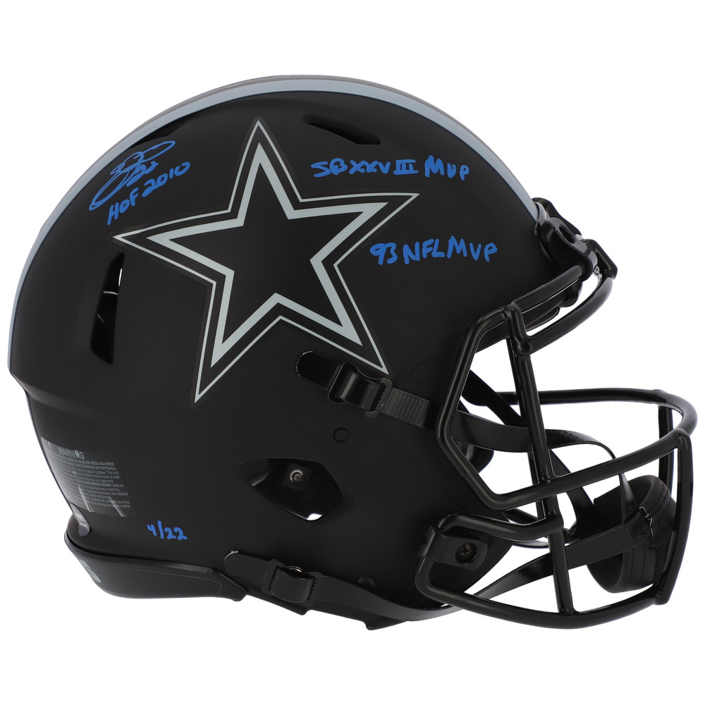 Emmitt Smith Dallas Cowboys Autographed & Inscribed Riddell Eclipse Alternate Speed Authentic Helmet - Limited Edition of 22