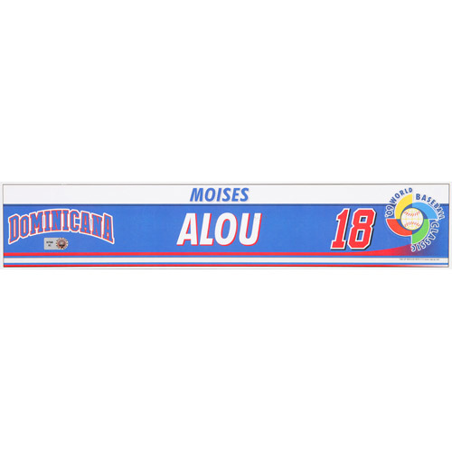Photo of 2009 WBC: Dominican Republic Game-Used Locker Name Plate - #18 Moises Alou