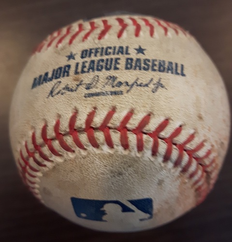 Photo of Authenticated Game Used Baseball - Double by Kevin Pillar against Jaime Garcia. Bottom 4. (May 16, 2017).