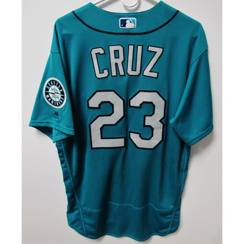 Photo of Seattle Mariners Nelson Cruz 2018 Game Used Green Jersey (5/25/18 vs. Twins)