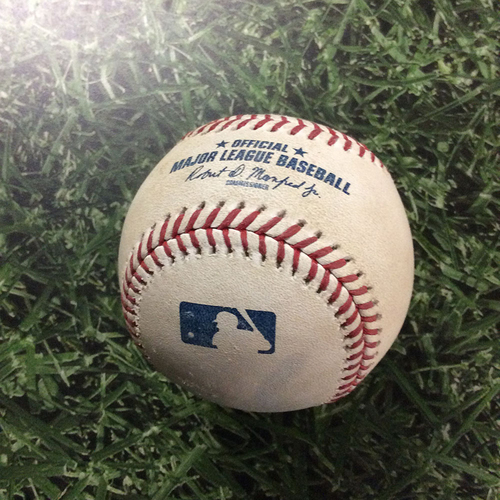 Photo of Game-Used Baseball NYM@MIL  05/08/18 - Brent Suter - Edwin Encarnacion: Foul Ball