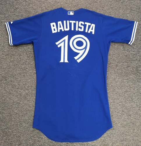 Photo of Authenticated Game Used Jersey - #19 Jose Bautista (August 1, 2015: 3-for-4 with 2 HR, 3 Runs and 2 RBIs). Size 42.
