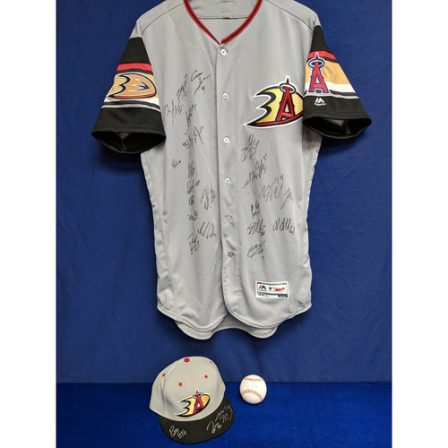 Photo of Anaheim Ducks Team Signed Batting Practice Jersey, Hat and Ball Package
