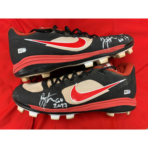 Photo of Joey Votto -- Autographed 2017 Home Cleats -- Inscribed as
