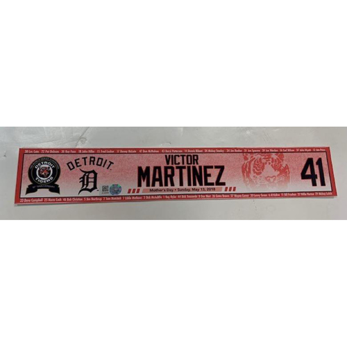 Photo of Game-Used Mother's Day Locker Name Plate: Victor Martinez
