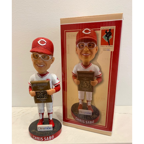 Photo of Chris Sabo Autographed Reds Hall of Fame Bobblehead