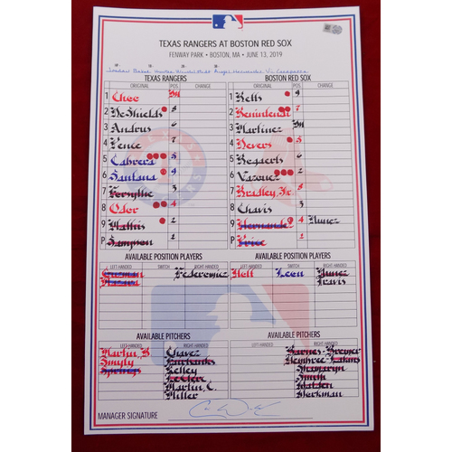 Photo of Game-Used Line-Up Card - Texas Rangers at Boston Red Sox - 6/13/19