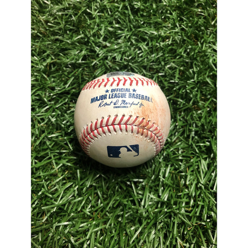 Photo of Game Used Baseball: Mookie Betts single and Rafael Devers at-bat against Yonny Chirinos - July 23, 2019 v BOS