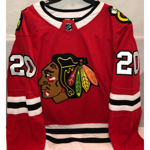 Photo of Jim Thome Blackhawks Jersey Autographed by Brandon Saad