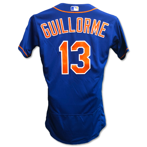 Photo of Luis Guillorme #13 - Game Used Blue Alt. Home Jersey - Alonso Ties Single Season Rookie HR Record - Mets vs. Braves - 9/27/19