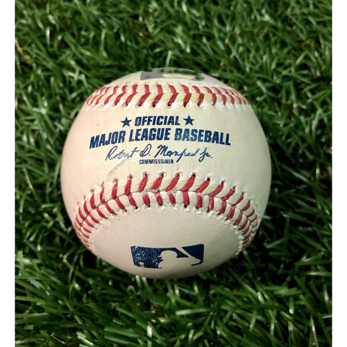 Photo of Game Used Baseball: J.D. Martinez ground-rule double off Charlie Morton - August 4, 2020 v BOS