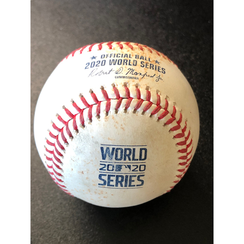 Photo of Game-Used Baseball - 2020 World Series - Tampa Bay Rays vs. Los Angeles Dodgers - Game 1 - Pitcher: Ryan Yarbrough, Batter: Enrique Hernandez (RBI Single, Smith Scores) - Bot 5