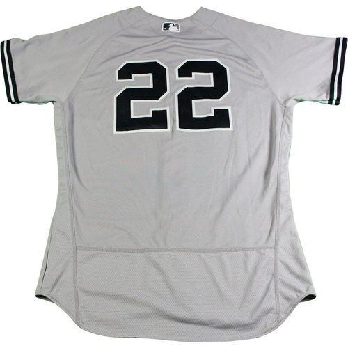 Photo of Jacoby Ellsbury New York Yankees 2017 Opening Day Game-Used #22 Road Jersey (4/2/2017). Jersey Size - 44