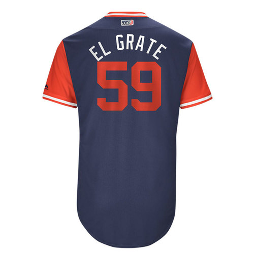 "Photo of Juan ""El Grate"" Graterol Los Angeles Angels 2017 Game-Used Players Weekend Jersey"