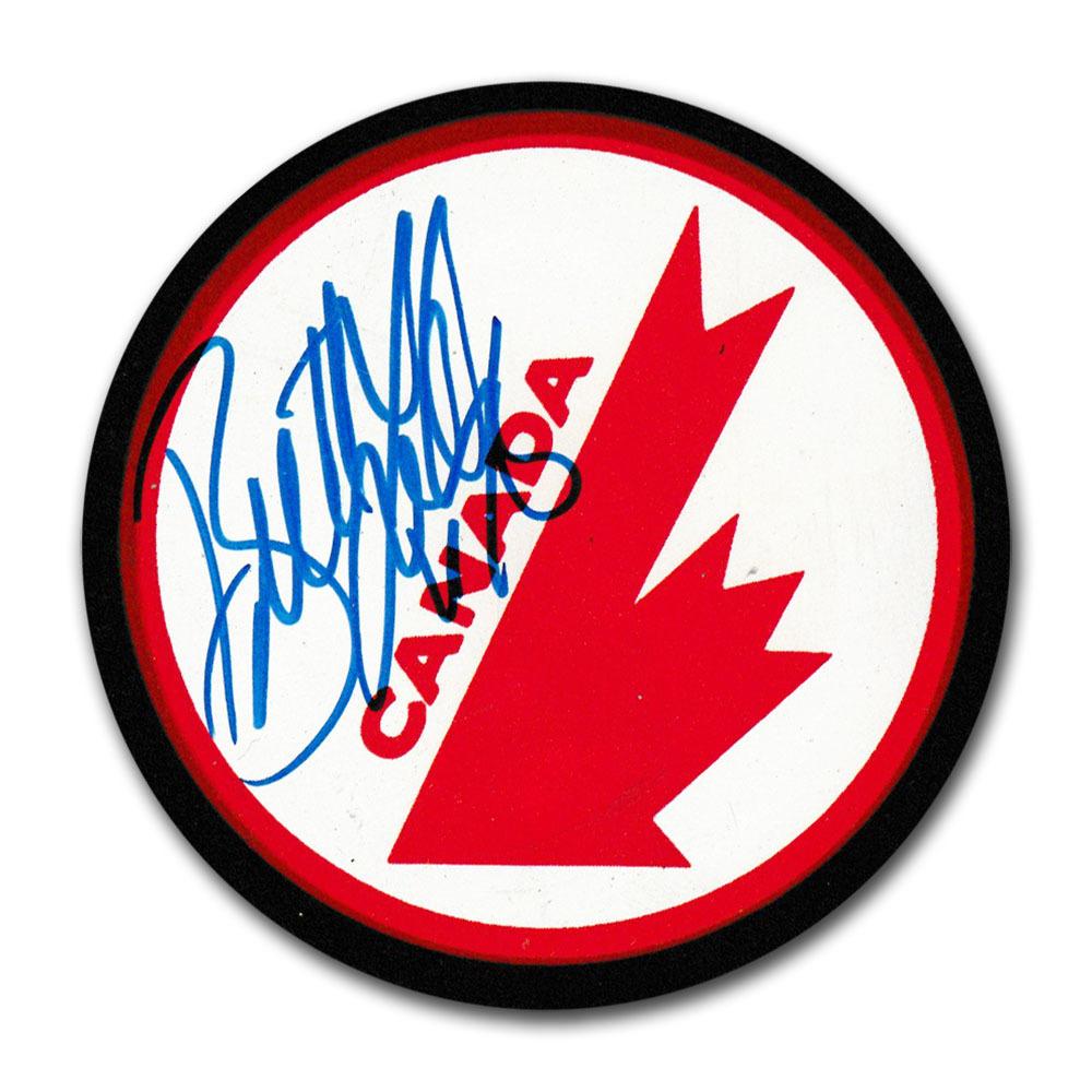 Brett Lindros Autographed Team Canada Puck