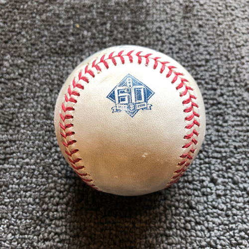 Photo of 2018 San Francisco Giants - Game-Used Ball - 60th Anniversary - Ty Blach Strikes Out Travis Jankowski on a Foul Tip on 6/22/18
