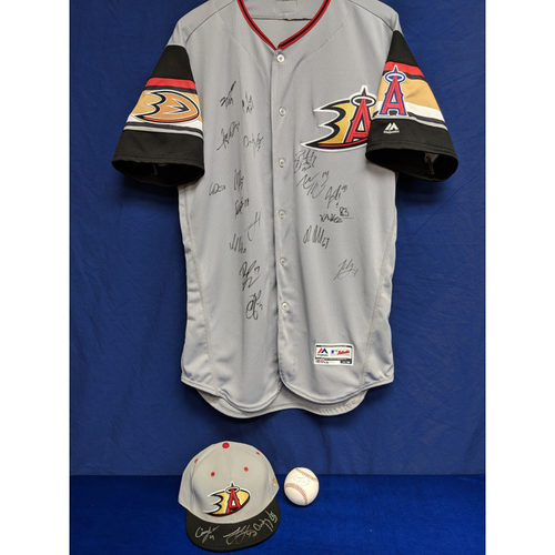 Photo of Anaheim Ducks Autographed Batting Practice Jersey, Hat and Ball