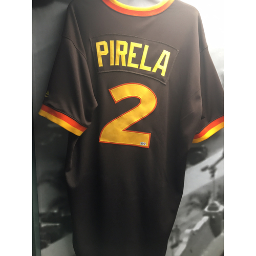 Photo of Jose Pirela Game-Used 1983 Padres Throwback Jersey - 7/9/2017