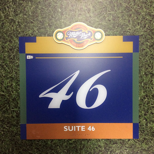 "Photo of Miller Park Team-Issued Sign - ""Suite 46"""