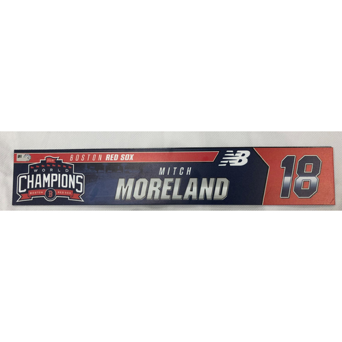 Photo of Mitch Moreland Game Used April 28, 2019 Locker Tag