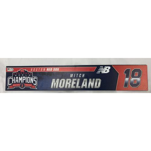 Photo of Mitch Moreland Game Used April 28, 2019 Locker Tag