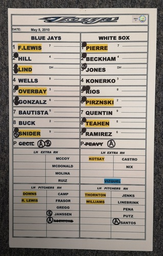Photo of Authenticated Game Used Lineup Card - May 8, 2010 at CWS: Home Run by Paul Konerko